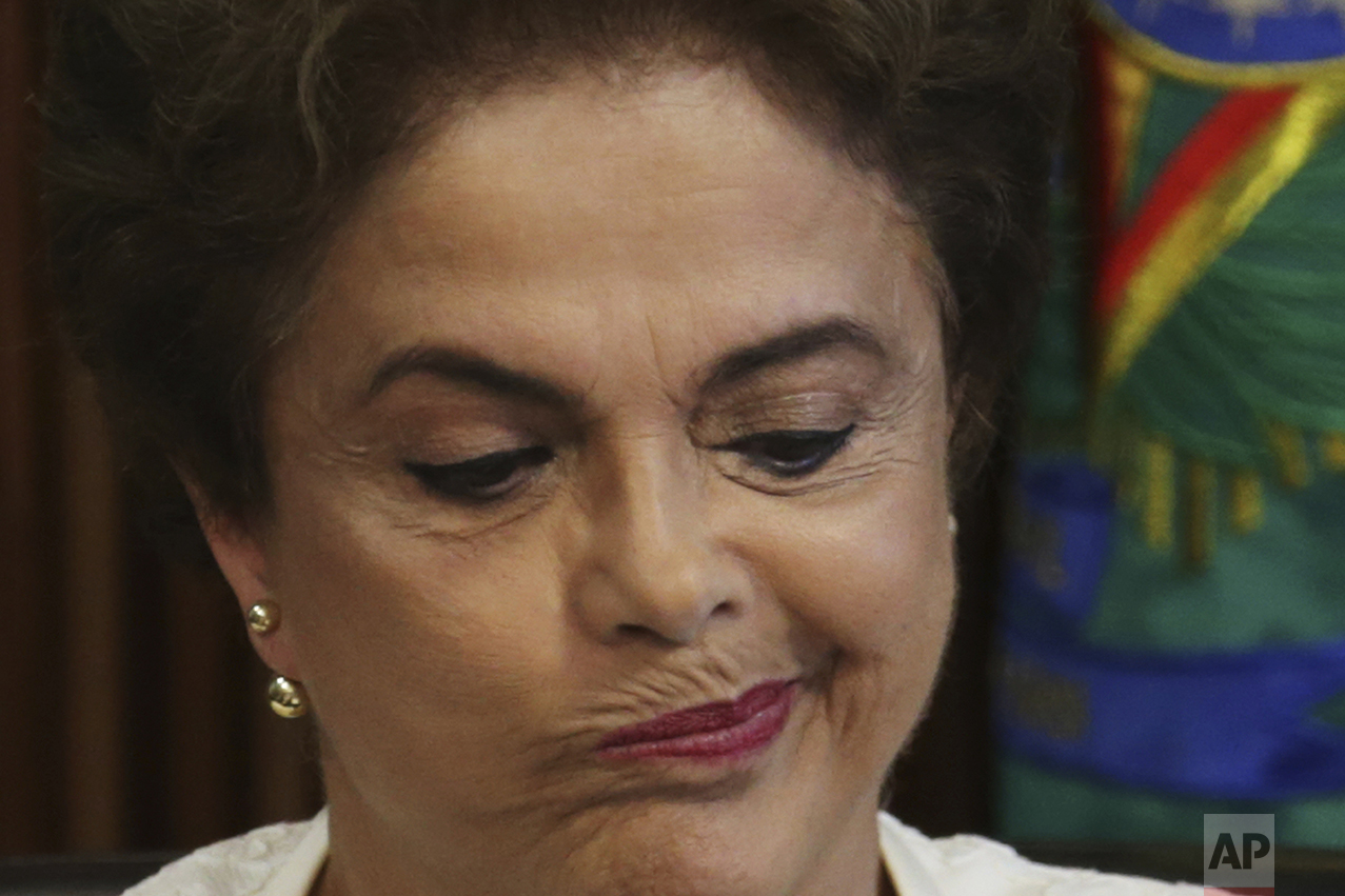 Brazil's President Dilma Rousseff pauses during a meeting with governors at the Planalto Presidential Palace in Brasilia, Brazil, on March 4, 2016. Rousseff was president of Brazil from 2011 until her impeachment and removal from office on Aug. 31, 2016. (AP Photo/Eraldo Peres)