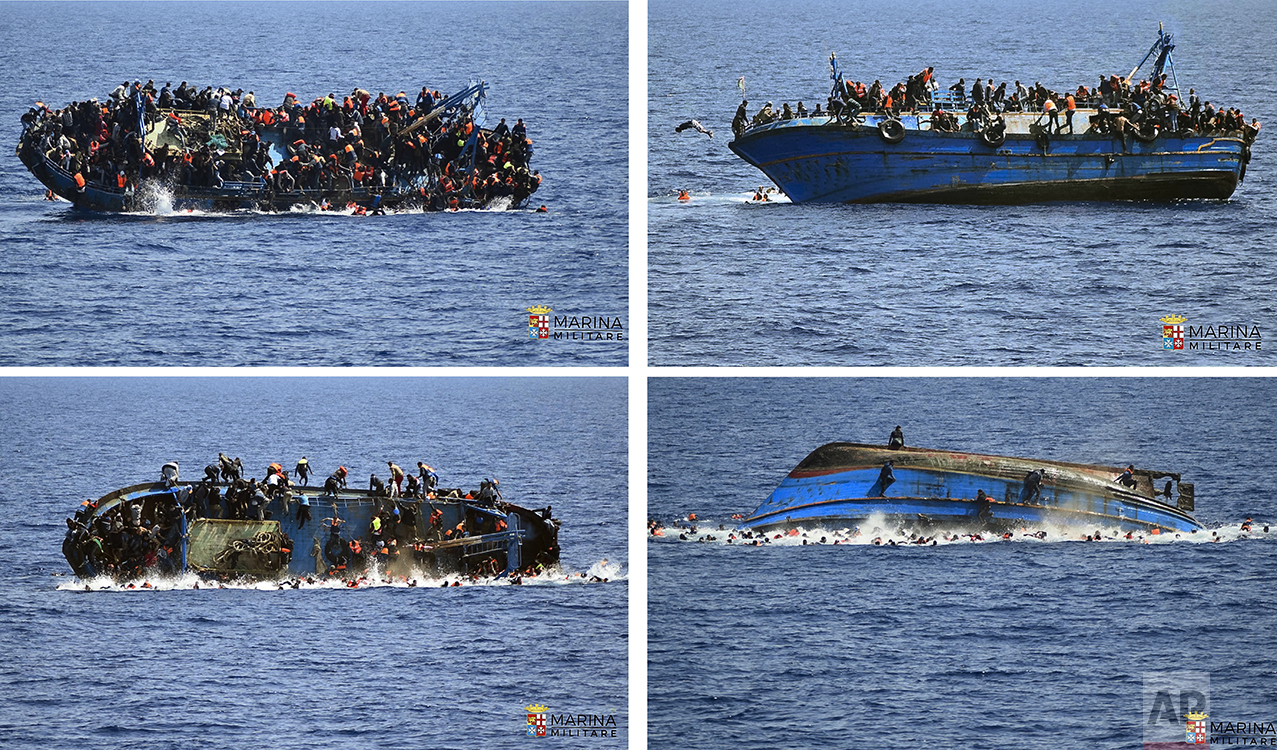 In this four-picture combo a boat overturns as people try to jump in the water off the Libyan coast on May 25, 2016. The Italian navy says it recovered a few bodies from the overturned migrant ship, while some 500 migrants who were on board were rescued safely. (Italian navy via AP)