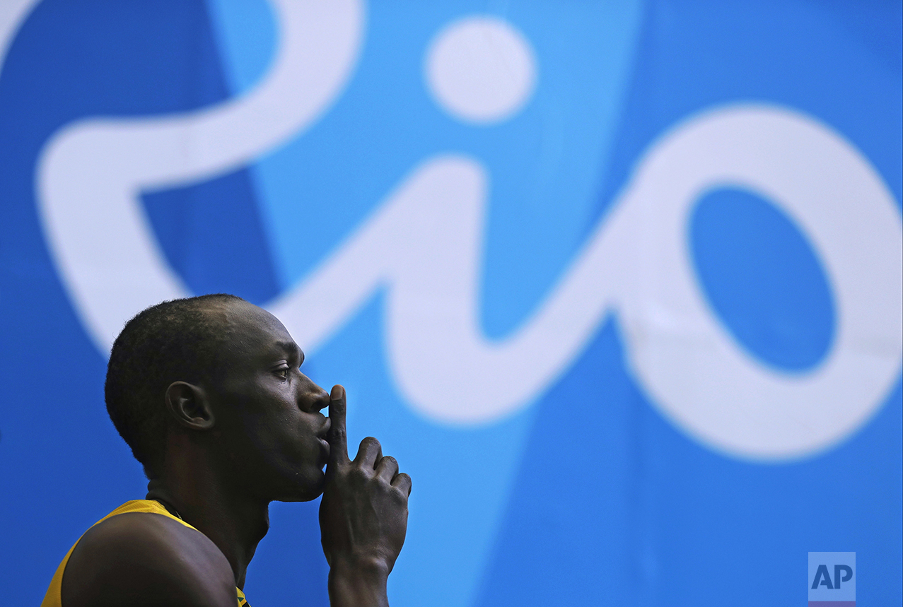 Jamaica's Usain Bolt arrives in the stadium to compete in a men's 100-meter heat during the athletics competitions of the 2016 Summer Olympics at the Olympic stadium in Rio de Janeiro, Brazil, on Aug. 13, 2016. (AP Photo/Jae C. Hong)