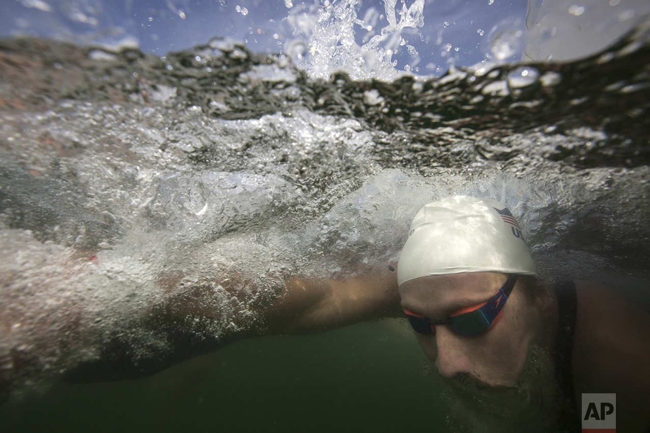 Jordan Wilimovsky, of the United States, competes in the men's marathon event at the 2016 Summer Olympics in Rio de Janeiro, Brazil, on Aug. 16, 2016. (AP Photo/Felipe Dana)