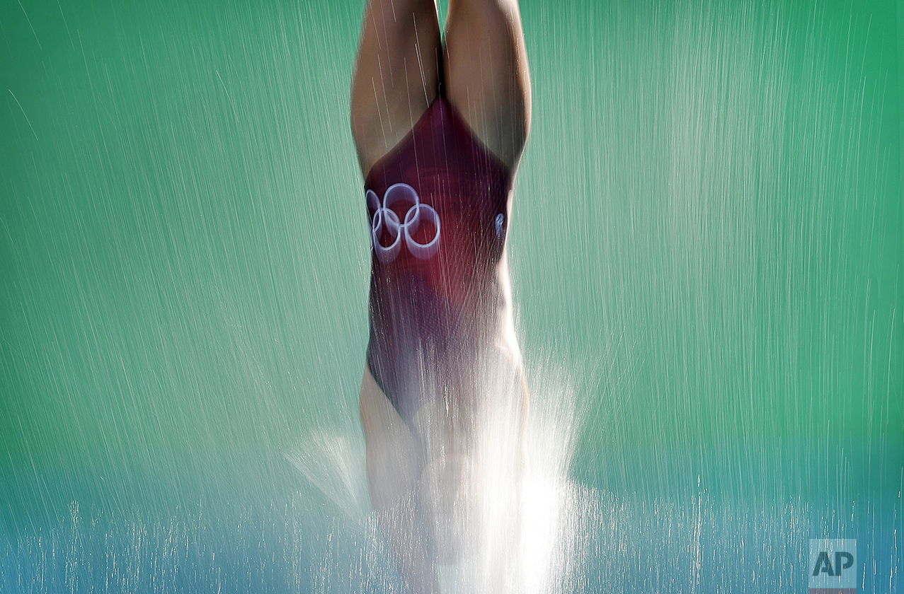 A diver takes part in a training session at the Maria Lenk Aquatic Center ahead of the 2016 Summer Olympics in Rio de Janeiro, Brazil, on Aug. 5, 2016. (AP Photo/Wong Maye-E)