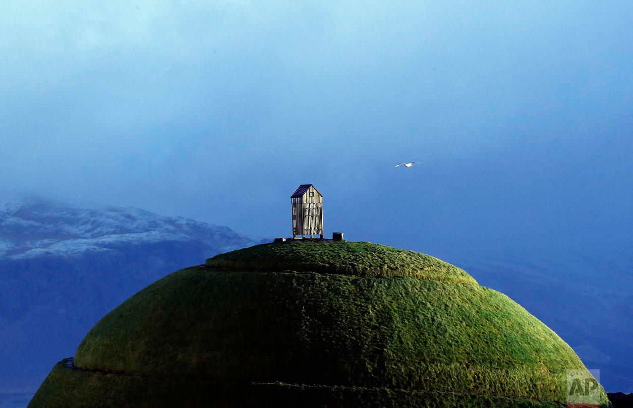 A Friday, Oct. 28, 2016 photo of the Thufa hill in Reykjavik. Parliamentary elections will be held in Iceland on Oct. 29, 2016, more than 250,000 voters are called to elect the new parliament, 63 members of the Althing parliament. (AP Photo/Frank Augstein)