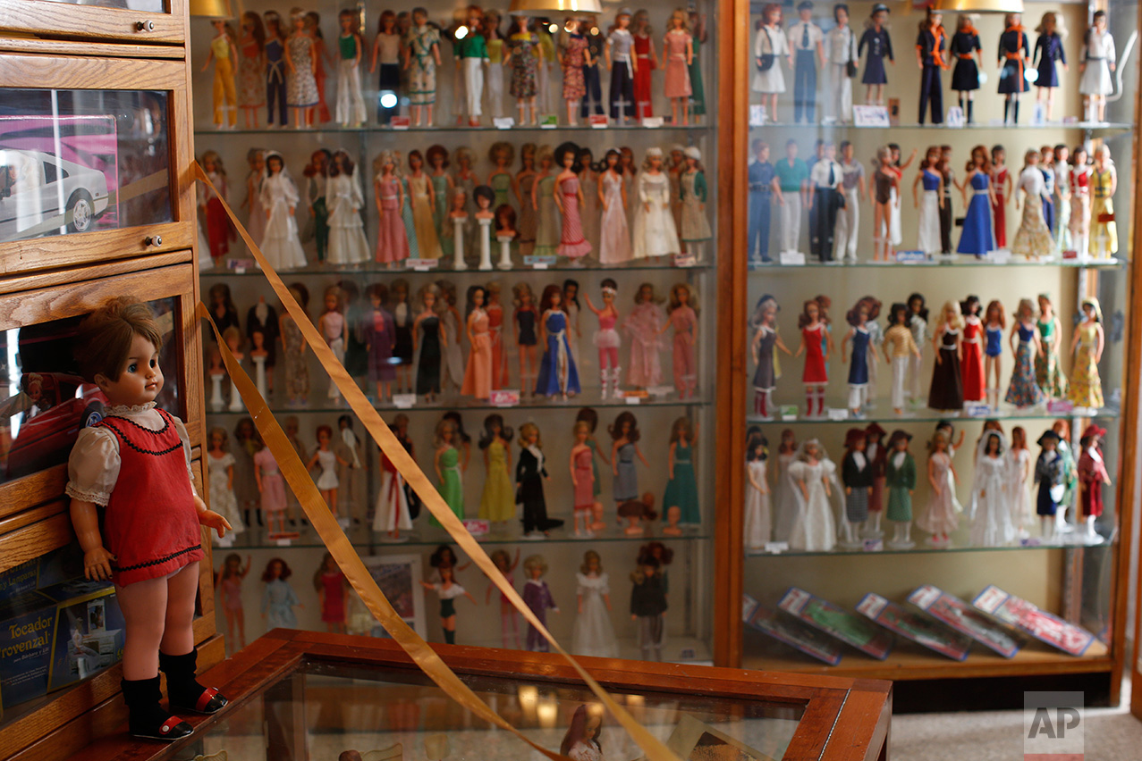 In this Jan. 6, 2017 photo, Barbara Lili dolls, the Mexican version of the Barbie doll, are displayed prior to the opening of a large Barbie doll exhibit at the Mexico Antique Toy Museum in Mexico City. Among the millions of items displayed in this museum, all sorts of Mexican wrestling paraphernalia and old traditional Mexican toys remind Mexicans of their rich cultural heritage as well as a blunt reminder that before the North American Free trade agreement was signed in the 1990's, Mexico had a robust, healthy and creative national toy industry that is now practically defunct.(AP Photo/Dario Lopez-Mills)