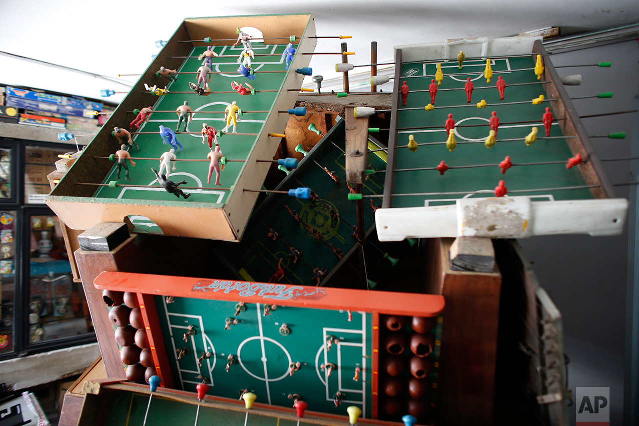 """In this Jan. 11, 2017 photo, an """"object"""" made out of old Foosball tables is displayed at the Mexico Antique Toy Museum in Mexico City. The museum is having to struggle following a congressional decision to stop allocating cultural funds for the collection. The museum has had to cut staff by half and most of its cultural events and workshops have been suspended and it hopes to raise money through a Kickstarter campaign.(AP Photo/Dario Lopez-Mills)"""