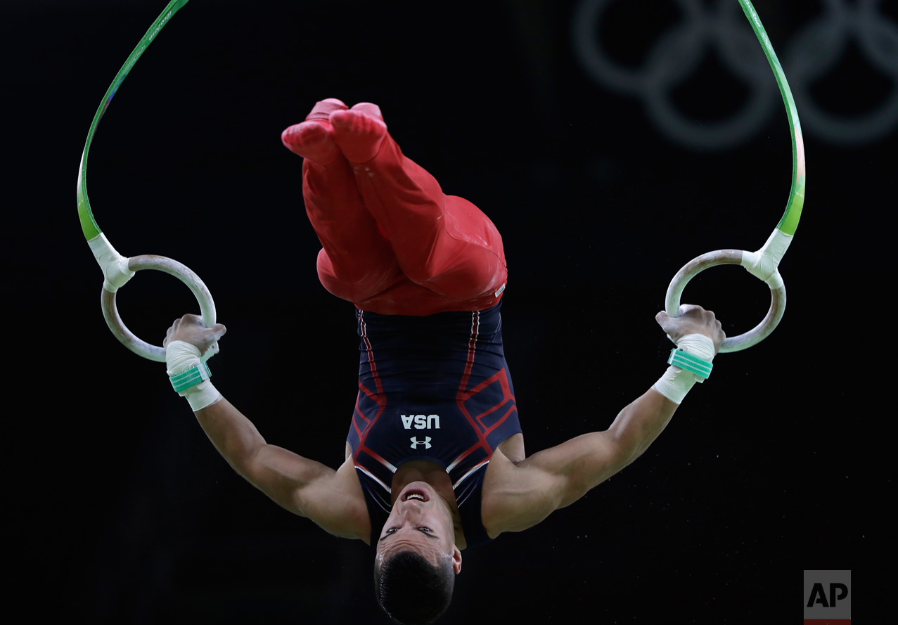 Gymnast from the United States Jacob Dalton trains on the rings ahead of the 2016 Summer Olympics in Rio de Janeiro, Brazil, Wednesday, Aug. 3, 2016. (AP Photo/Dmitri Lovetsky)