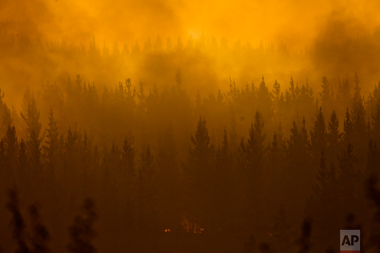 "In this Jan. 21, 2017 photo, wildfires burn in Pumanque, Chile. The ferocity of the flames prompted President Michelle Bachelet's to declare a state of emergency, deploy troops and ask for international help, calling it ""the greatest forest disaster"" in Chile's history. (AP Photo/Esteban Felix)"