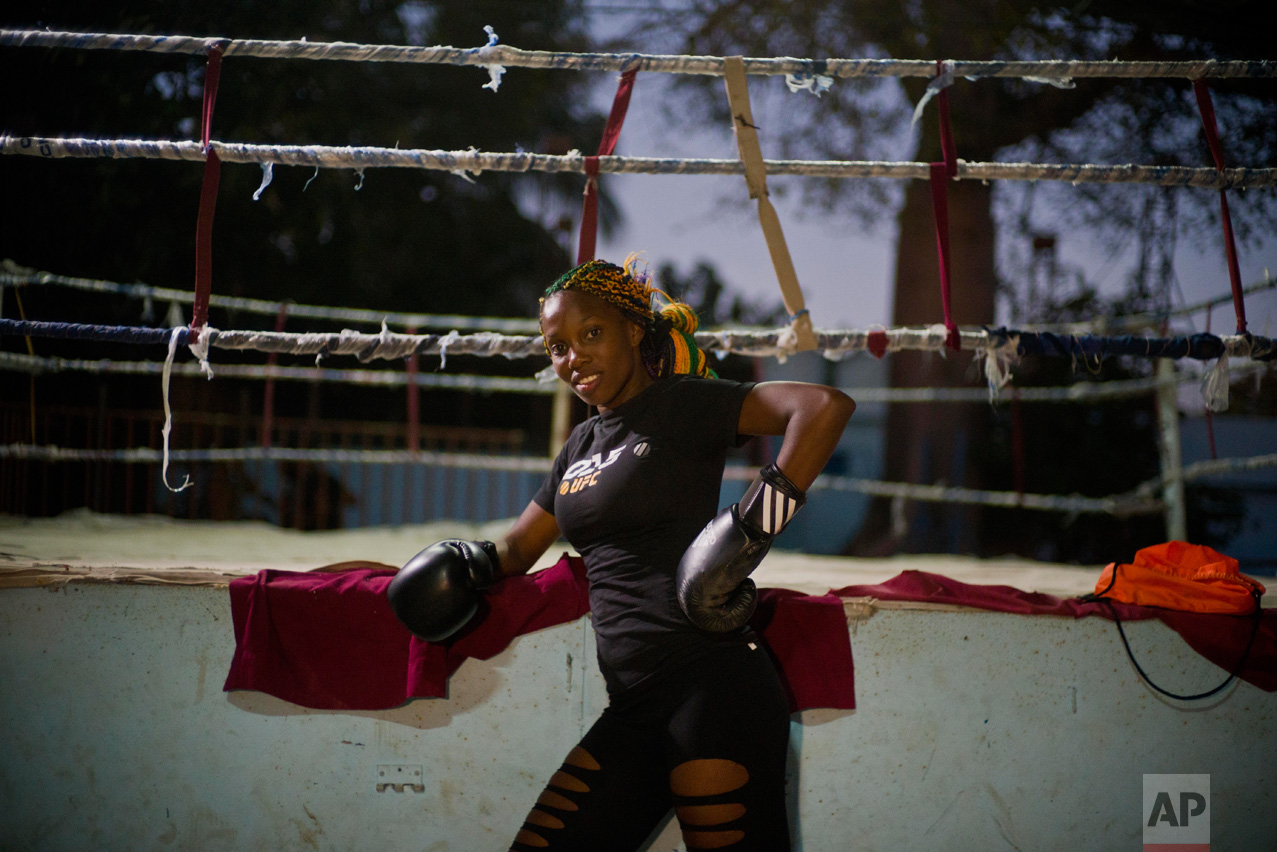 In this Jan. 24, 2017 photo, boxer Legnis Cala poses for a photo before a training session, at a sports center in Havana, Cuba. Women were first allowed to box at the Olympics during the 2012 Summer Olympics but they are still not allowed to box in Cuba. (AP Photo/Ramon Espinosa)