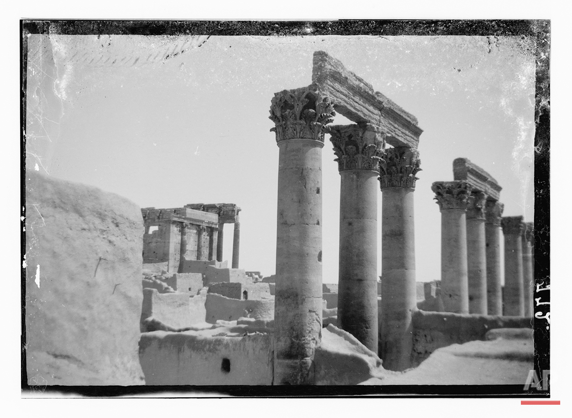 In this undated photo, believed to have been made between 1900 – 1920, pillars in the Temple of the Sun are shown in the ancient city of Palmyra in the central Homs province, Syria. (Library of Congress via AP)