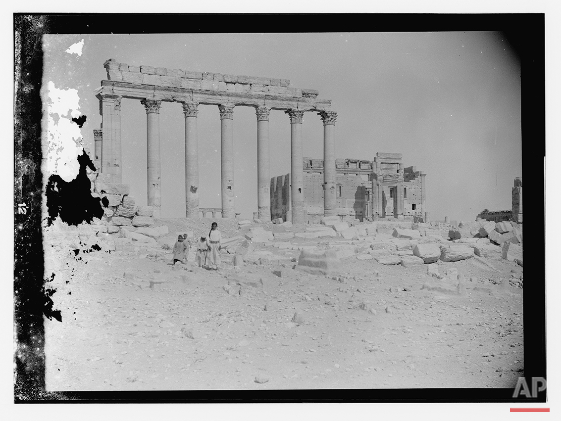 In this undated photo, believed to have been made between 1900 – 1920, the ancient city of Palmyra is shown in the central Homs province, Syria. (Library of Congress via AP)