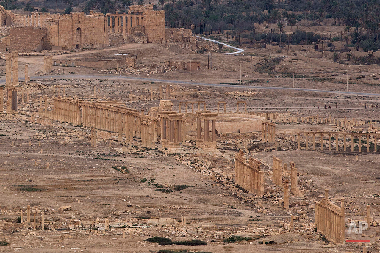 A general view shows the ancient city of Palmyra in the central city of Homs, Syria, Thursday, April 14, 2016. Russian combat engineers arrived in Syria on a mission to clear mines in Palmyra, which has been recaptured from Islamic State militants in an offensive that has proven Russia's military might in Syria despite a drawdown of its warplanes. (AP Photo/Hassan Ammar)