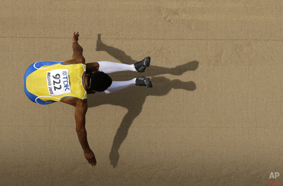 Sweden's Michel Torneus competes in men's long jump qualification at the World Athletics Championships at the Bird's Nest stadium in Beijing, Monday, Aug. 24, 2015. (AP Photo/Wong Maye-E)