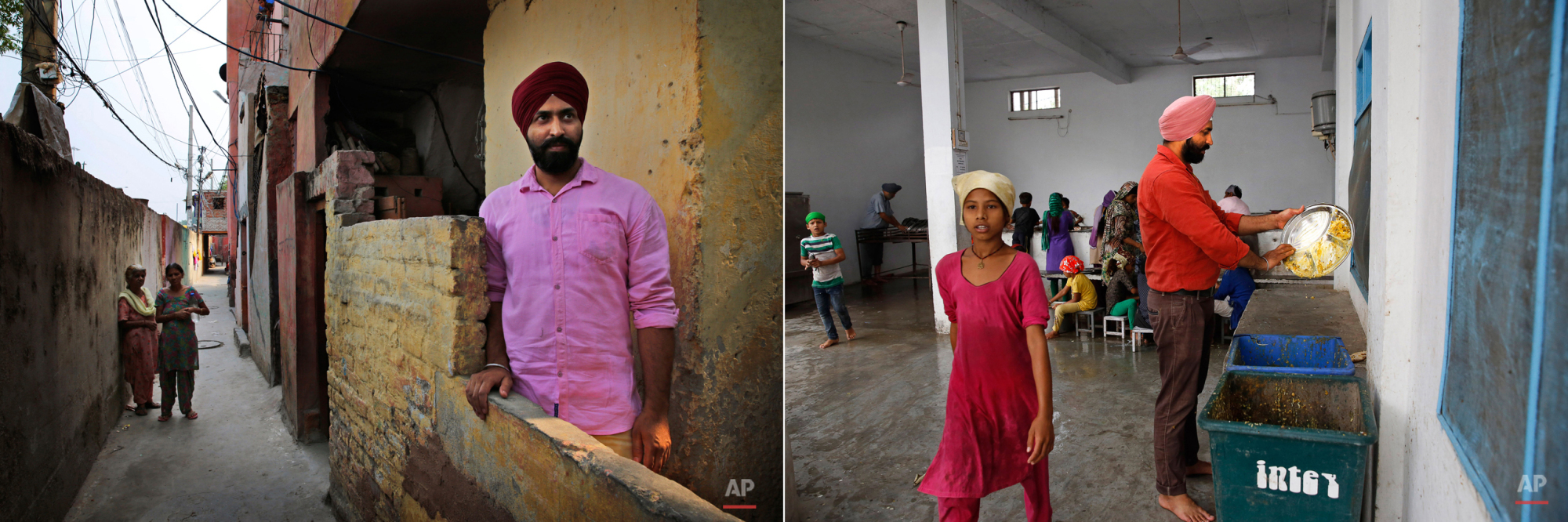 This two picture combo shows on left, Goldy who drives ambulance for Delhi government poses outside his house, in New Delhi, India, on June 15, 2015, as on right, he cleans the used plates during langar at the Majnu-Ka-Tilla Gurdwara or Sikh temple, in New Delhi, India, on June 14, 2015. The langar, which translates to community meal, started by Guru Nanak, founder of Sikhism in late 15th century, a place where people from different cast and creed come under one roof to eat and serve. It is now a tradition followed by more than 30 million Sikhs worldwide. Nearly every Gurdwara in the world, irrespective of size, has a kitchen and serves lanagar. (AP Photo/Manish Swarup)
