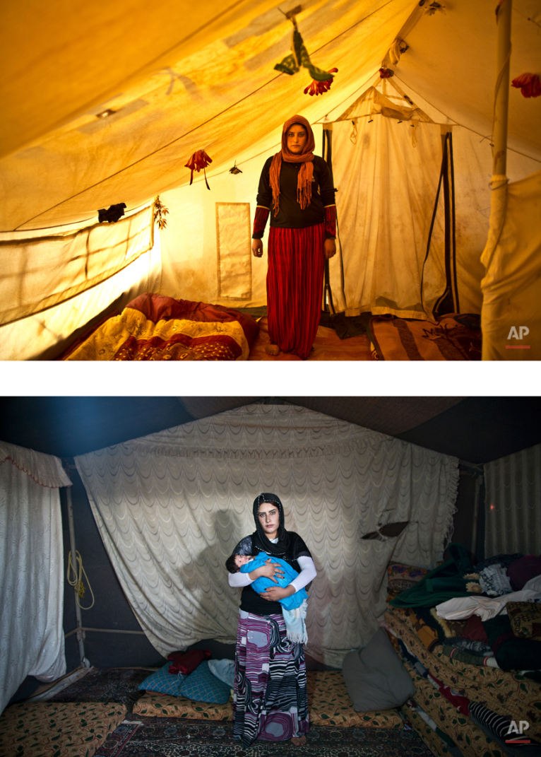 """This combination of two images taken between Monday, March 16, 2015, top, and Tuesday, Aug. 11, 2015, shows Syrian refugee Wadhah Hamada, 22, posing for a picture while being pregnant, and after giving birth to her child, at an informal tented settlement near the Syrian border, on the outskirts of Mafraq, Jordan. The challenges that the refugees face is laid bare by Hamada: ìWinter is so cold, summer is hot and dry. My husband hardly works and some of the decisions we had to make have been deciding what is more important: To buy bread to feed ourselves or medicine in case my child is in need?"""" (AP Photo/Muhammed Muheisen)"""