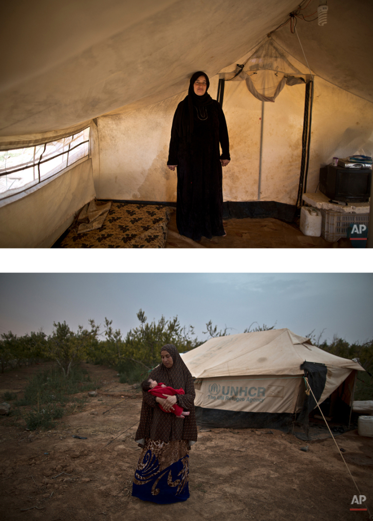 """This combination of two images taken between Monday, March 16, 2015, top, and Tuesday, Aug. 4, 2015, shows Syrian refugee Mona Hussein, 33, posing for a picture while being pregnant, and after giving birth to her child, at an informal tented settlement near the Syrian border, on the outskirts of Mafraq, Jordan. """"We are left alone. No one comes to check on us. We live by the roadside,î Hussein says. (AP Photo/Muhammed Muheisen)"""