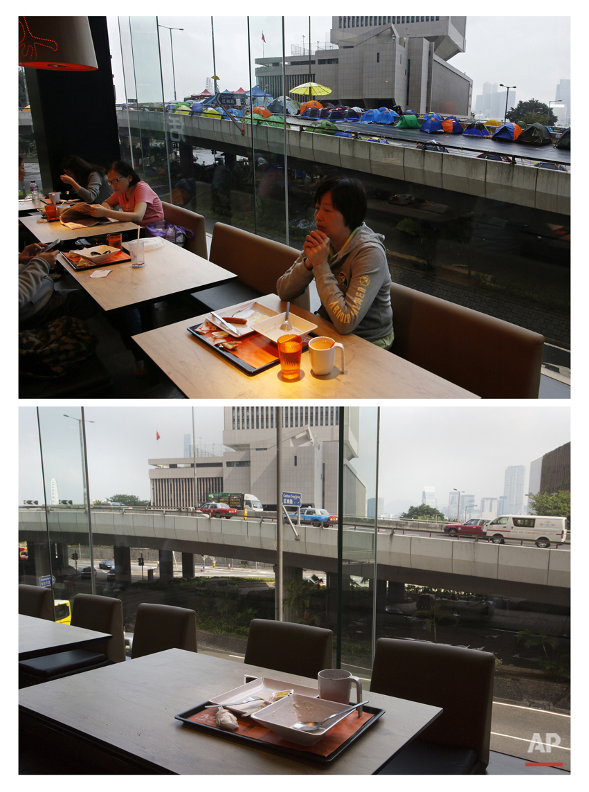 This combination of Nov. 8, 2014 file, top, Sept. 26, 2015 photos shows residents eating breakfast at a fast food restaurant near an elevated road where protesters have camped out to protest during the Umbrella Movement in Hong Kong, and a tray being left on a table at the same restaurant.  (AP Photo/Vincent Yu, File)