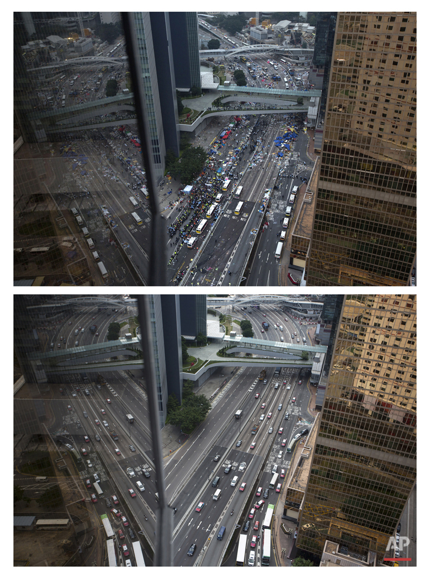 This combination of Dec. 11, 2014 file, top, and Sept. 25, 2015 photos shows a general view of a main road as police removing barricades and tents outside government headquarters during the Umbrella Movement in Hong Kong, and the same road almost one year later.  (AP Photo/Vincent Yu, File)