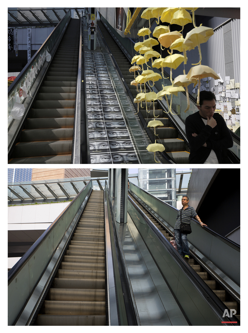 This combination of Nov. 21, 2014 file, top, and Sept. 26, 2015 photos shows a man walking past yellow paper umbrellas hanging above an escalator in an area occupied by protesters outside government headquarters during the Umbrella Movement in Hong Kong, and a man coming down the same escalator almost a year later. (AP Photo/Vincent Yu, File)