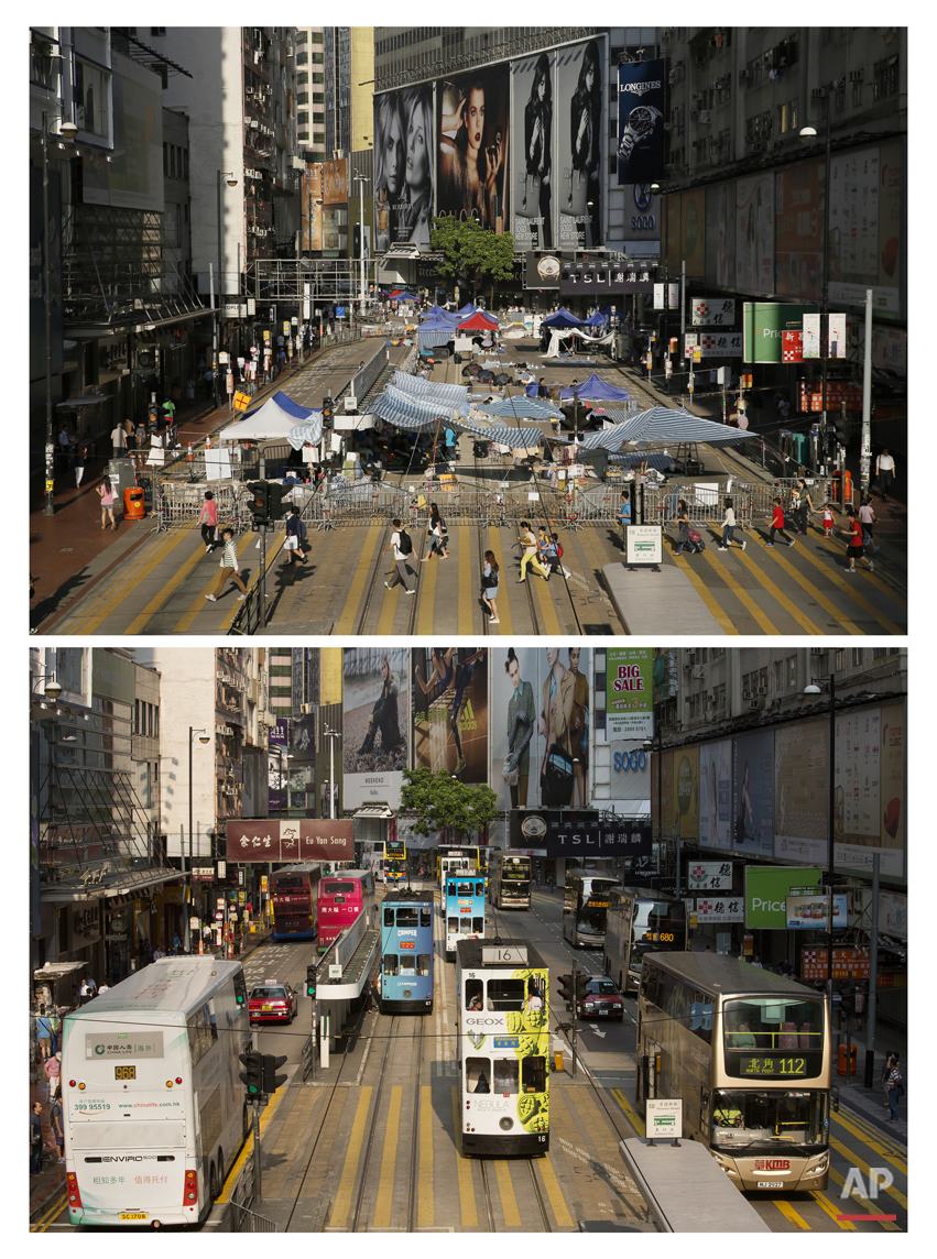 This combination of Oct. 10, 2014 file, top, and Sept. 26, 2015 shows people walking past barricades on the main street occupied by protesters at the Causeway Bay district during the Umbrella Movement in Hong Kong and street cars, buses and other vehicles go through the same street almost a year later.  (AP Photo/Vincent Yu, File)