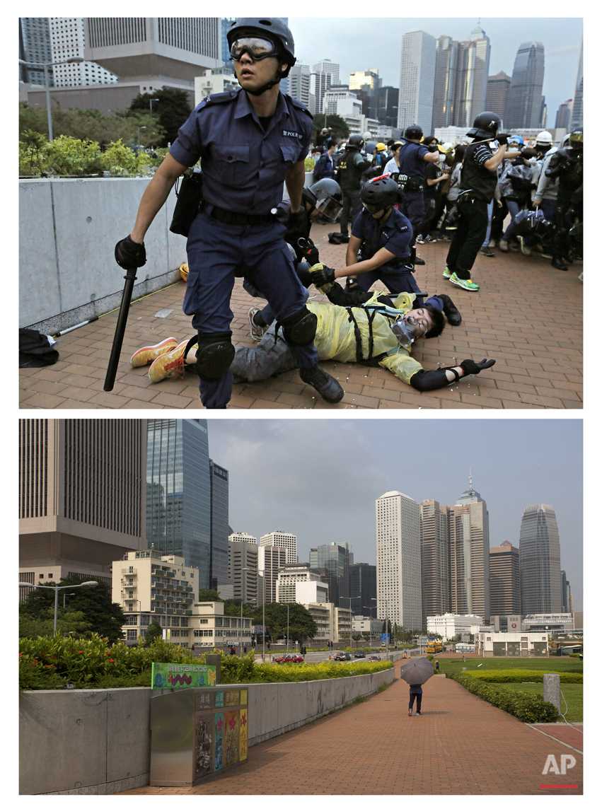 """This combination of Dec. 1, 2014 file, top, and Sept. 26, 2015 photos shows police officers detaining a protester during a clash as other protesters attempting to surround the Hong Kong government headquarters during the Umbrella Movement in Hong Kong, and a woman with an umbrella walking through the same area almost one year later. A year ago, Hong Kong's famously busy streets were shut down by pro-democracy activists who occupied them for 79 days in what became known as the """"Umbrella Movement."""" The protests were led by students and other activists who took to the streets to voice their opposition against Beijing's plan to restrict elections for top leader of the semiautonomous Chinese city. (AP Photo/Vincent Yu, File)"""
