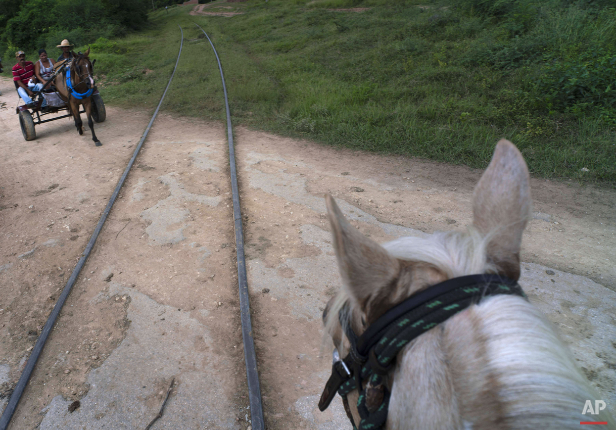 """In this Oct. 12, 2015 photo, a family on a horse-drawn carriage crosses the train tracks that connect Trinidad with the """"Valle de los Ingenios,"""" or Valley of the Sugar Mills, in Cuba. After decades of neglect due to the fall of the sugar industry, dozens of empty mills remain standing in this valley that was once part of the booming sugar industry in the 19th century, when plantation owners used slave labor. In 1988 the area became a UNESCO World Heritage Site. (AP Photo/Ramon Espinosa)"""