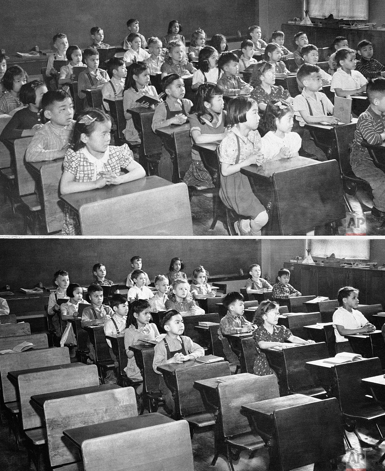 How evacuation of Japanese from Seattle would affect a second grade class in a local school is shown in these two views in Seattle, Wash., March 27, 1942. At the top is a crowded classroom with many Japanese pupils and at the bottom is the same class without the Japanese scholars. Vacancies caused by such an evacuation would probably be filled by children of defense workers moving into a nearby housing project. (AP Photo)