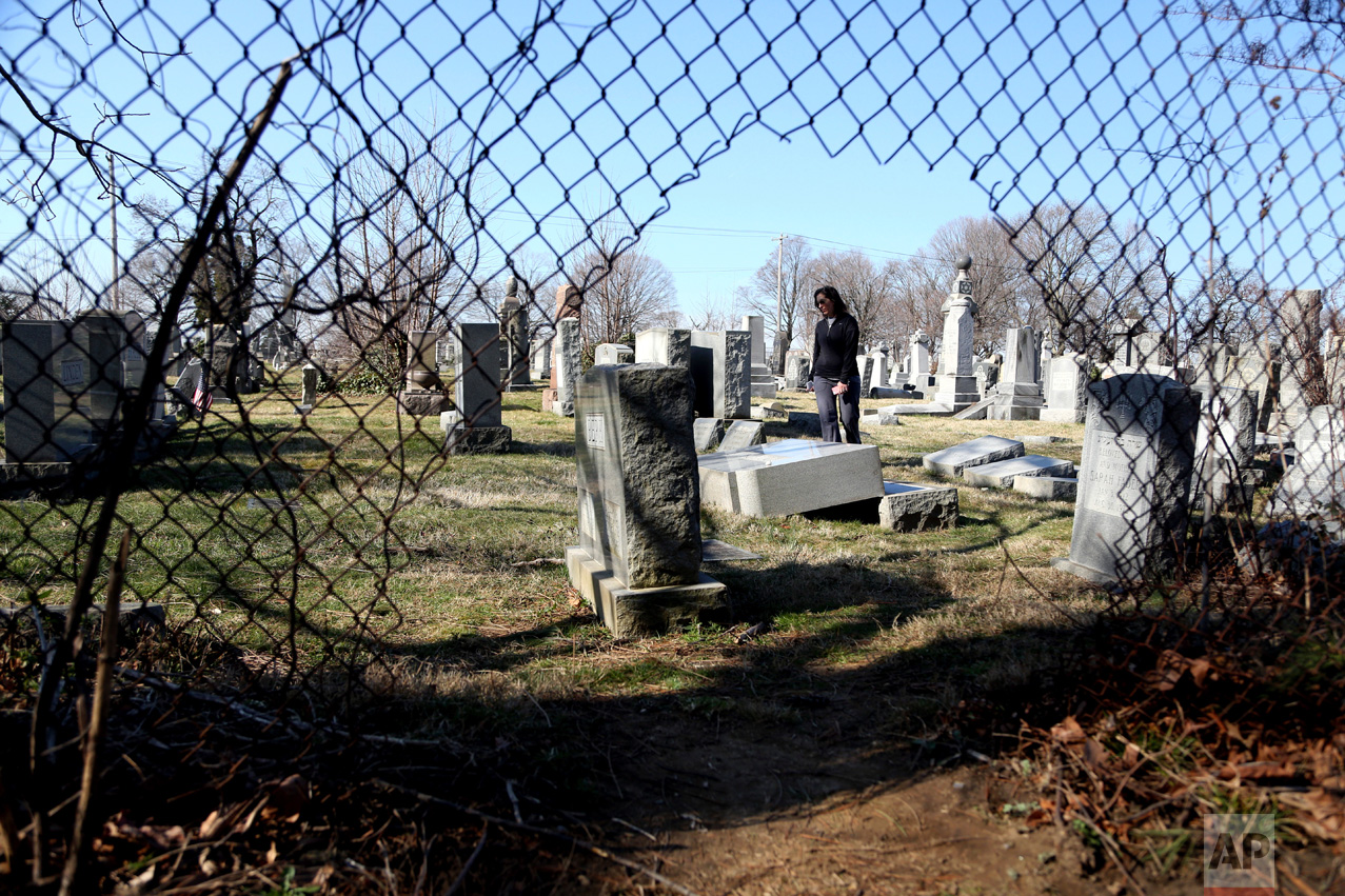 Stacy Biscardi searches the grounds of Mount Carmel Cemetery for a relatives' grave in Philadelphia on Tuesday, Feb. 28, 2017. Volunteers are expected to help in an organized effort to clean up and restore the Jewish cemetery where vandals damaged hundreds of headstones. (AP Photo/Jacqueline Larma)