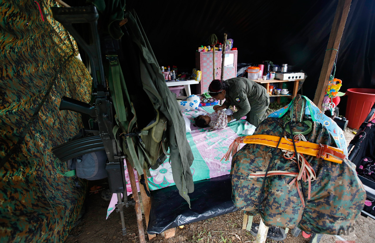 In this Tuesday, Feb. 28, 2017 photo, FARC rebel Sandra Saez changes her 4-month-old daughter Manuela inside her tent at a rebel camp in a demobilization zone in La Carmelita, in Colombia's southwestern Putumayo state. In La Carmelita, one of the more built-up camps, rebels sleep under plastic tarps, there are no proper showers or clinics and a road to the main highway is so muddy it is hard to traverse except in all-terrain vehicles. (AP Photo/Fernando Vergara)