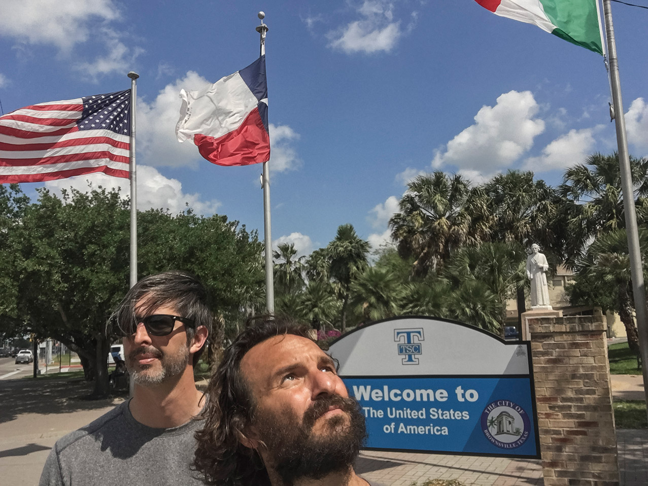 AP photographer Rodrigo Abd, front, and writer Christopher Sherman pose for a selfie in Brownsville, Texas, at the eastern end of the U.S. - Mexico border, March 21, 2017. (AP Photo/Rodrigo Abd)
