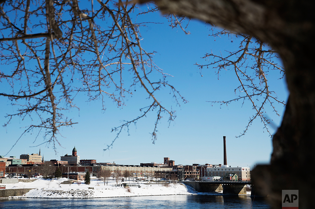 Downtown Lewiston, Maine, is seen Friday, March 17, 2017. (AP Photo/David Goldman)