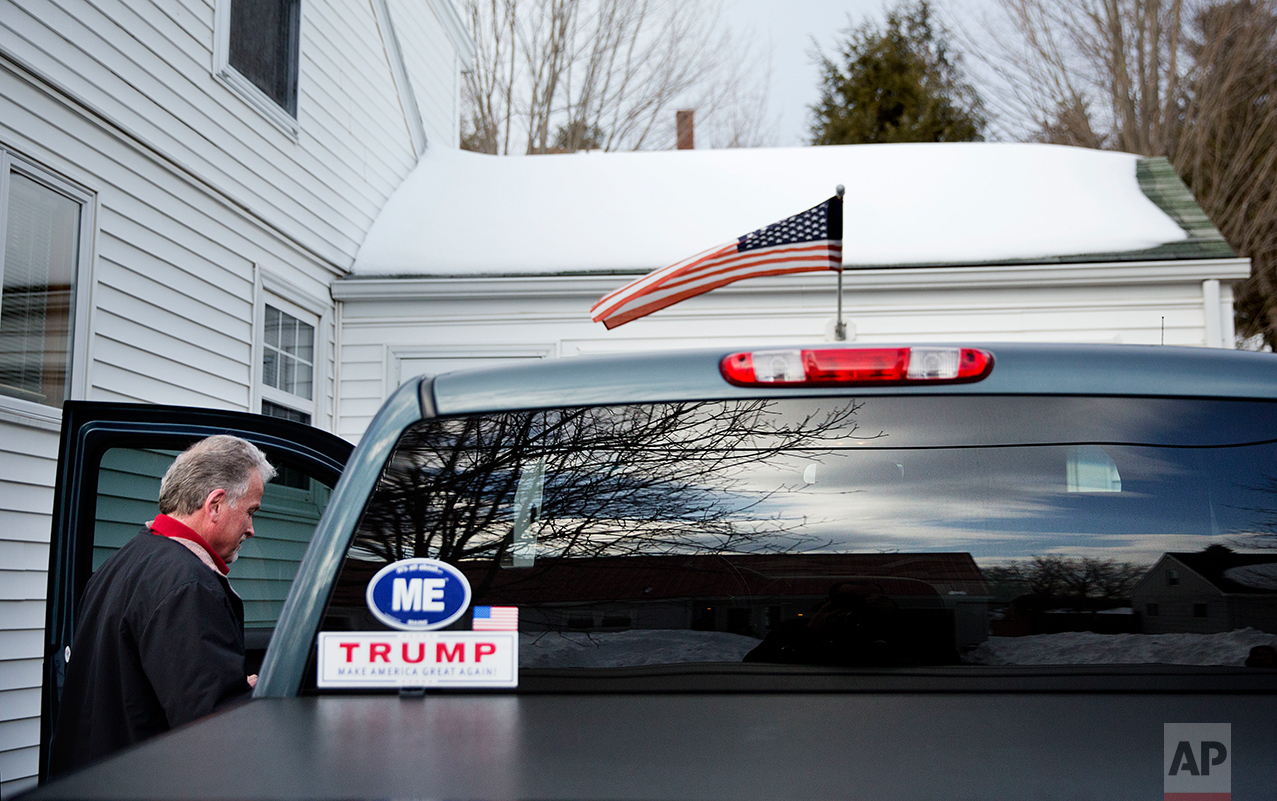 Trump supporter Richard Rodrigue gets into his truck in Lewiston, Maine, Thursday, March 16, 2017.(AP Photo/David Goldman)
