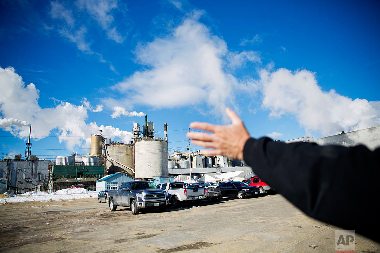 """David Lovewell, 59, compares the emptiness of the parking lot at the paper mill compared to when he worked there a few years earlier in Jay, Maine, Friday, March 17, 2017. """"Look at this parking lot. It's just amazing. At this time of day this parking lot was absolutely full: that's people, that's jobs, that's families,"""" said Lovewell who voted for Trump. (AP Photo/David Goldman)"""