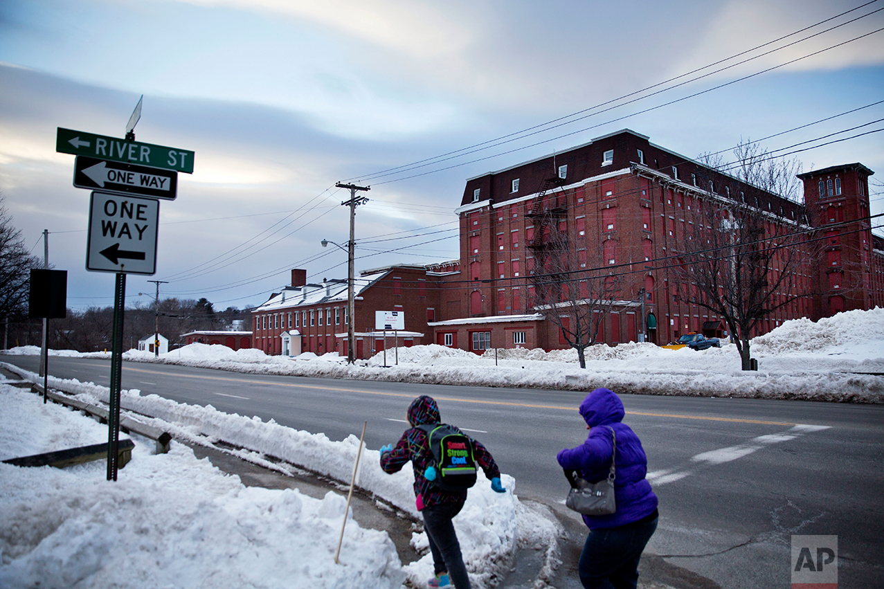 The Continental Mill building, a former textile mill that closed and has since been converted into small office, manufacturing and storage spaces is seen in Lewiston, Maine, Thursday, March 16, 2017. (AP Photo/David Goldman)