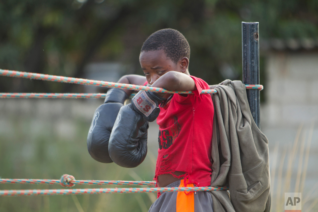 In this Sunday, March 11, 2017 photo, a young boy rests on the ropes after a boxing fight in Chitungwiza, Zimbabwe. (AP Photo/Tsvangirayi Mukwazhi)