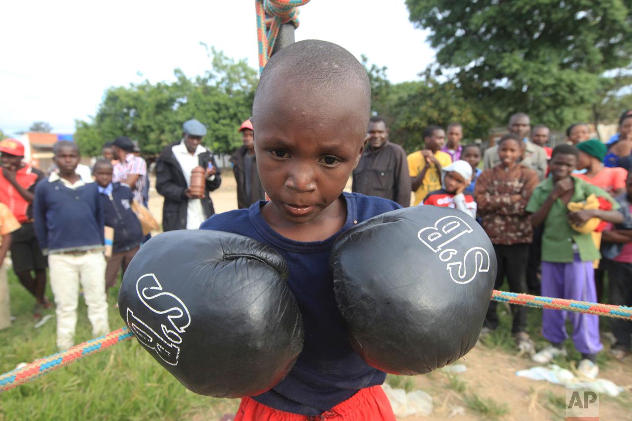 In this Sunday, March 11, 2017 photo a young boy prepares to fight in Chitungwiza, Zimbabwe. (AP Photo/Tsvangirayi Mukwazhi)