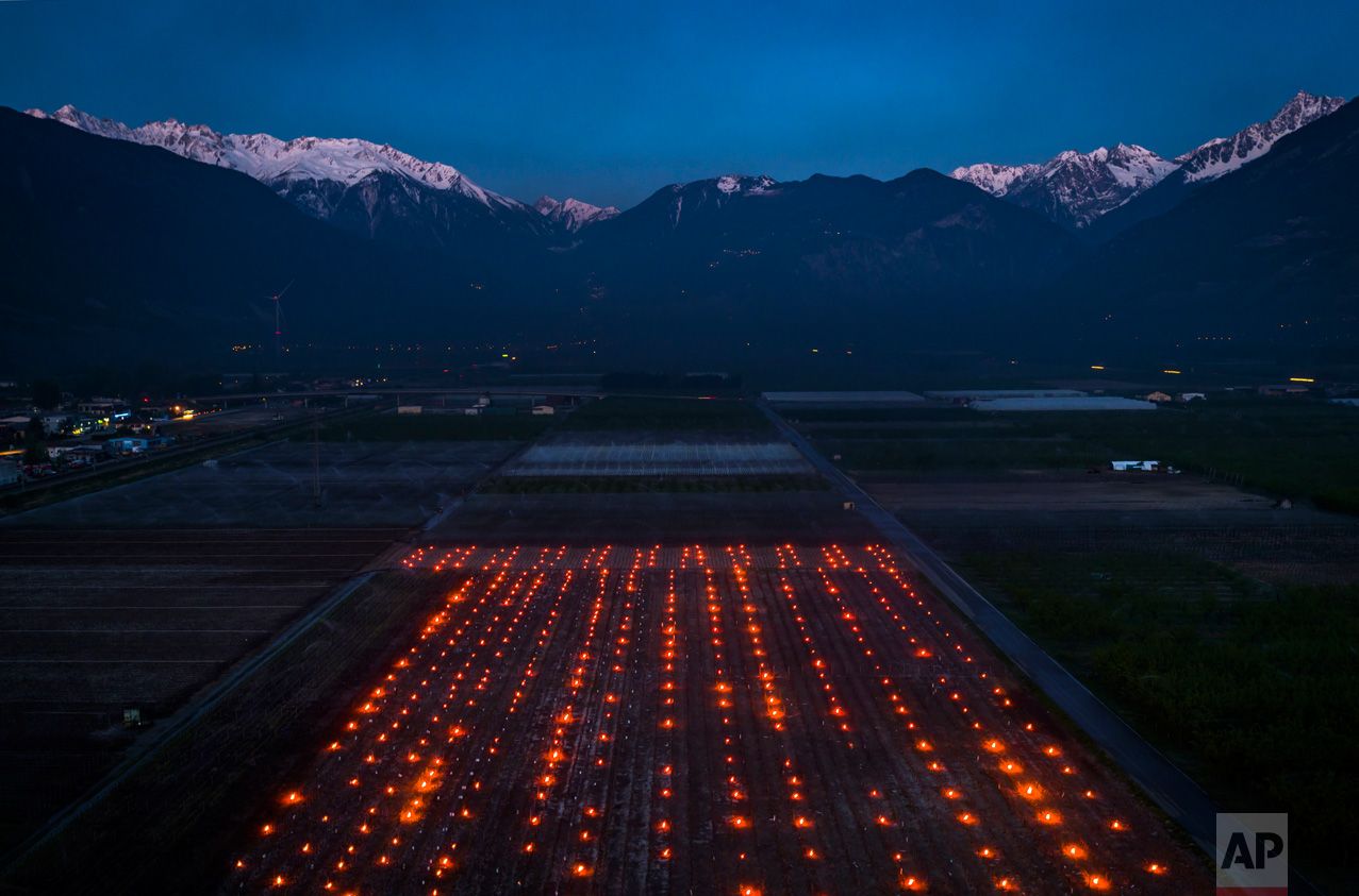 Anti-frost candles burn in a vineyard in the middle of the Swiss Alps, in Saxon, Canton of Valais, Switzerland, Thursday, April 20, 2017. Due to unusually low temperatures wine growers try to protect their grape shoots with anti-frost candles. (Valentin Flauraud/Keystone via AP)