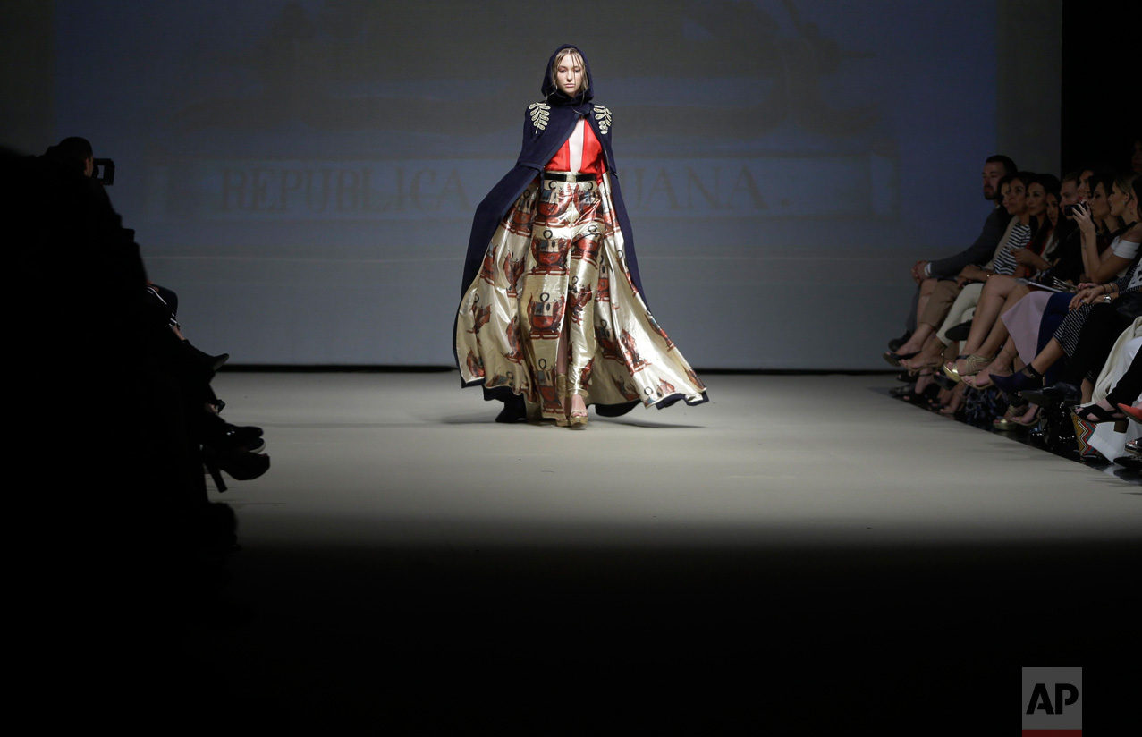 A model wears a creation from the Ani Alvarez Calderon autumn/winter collection during Fashion Week in Lima, Peru, Tuesday, April 25, 2017. (AP Photo/Martin Mejia)