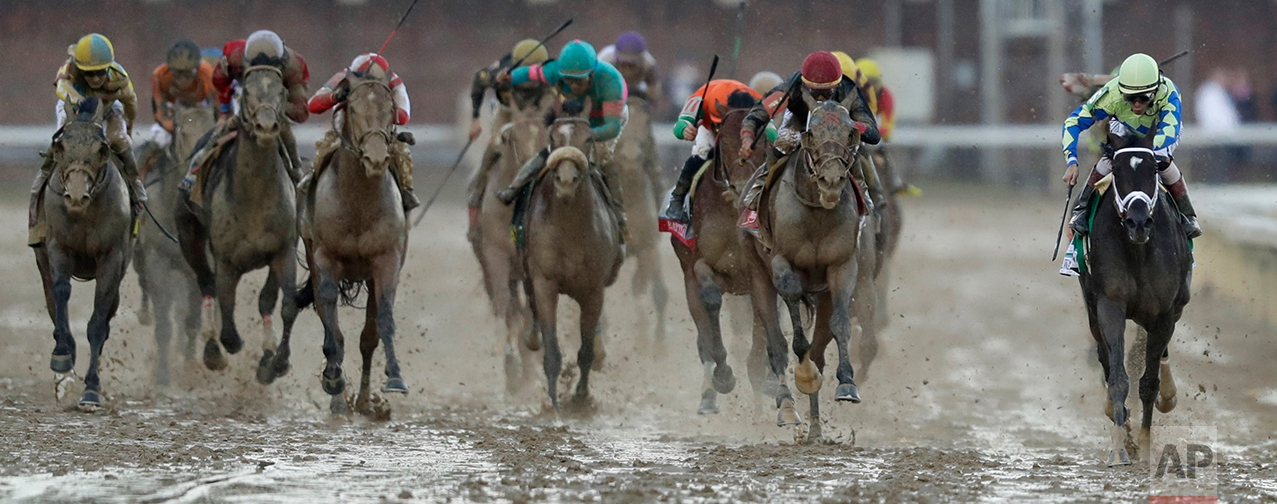 John Velazquez rides Always Dreaming to victory in the 143rd running of the Kentucky Derby horse race at Churchill Downs Saturday, May 6, 2017, in Louisville, Ky. (AP Photo/Matt Slocum)