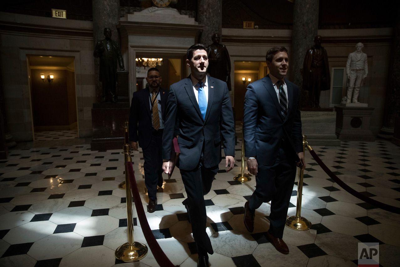 House Speaker Paul Ryan, R-Wis., walks to the House chamber on Capitol Hill in Washington, Thursday, May 4, 2017. Thursday's 217-213 House passage of a new health care measure— with 20 Republican defections — was preceded by several near-death experiences for the legislation, even though repealing Obamacare helped guide Donald Trump's presidential run and multitudes of GOP congressional campaigns. (AP Photo/Andrew Harnik)