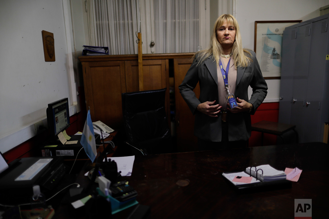 "Police officer Analia Pasantino poses for a picture during an interview in Buenos Aires, Argentina, on Thursday, May 11, 2017. ""This is a milestone,"" Pasantino said. ""I'm the first transgender police chief in Latin America. It's an unprecedented and important step to show Latin America and the world that we are an open institution."" (AP Photo/Natacha Pisarenko)"