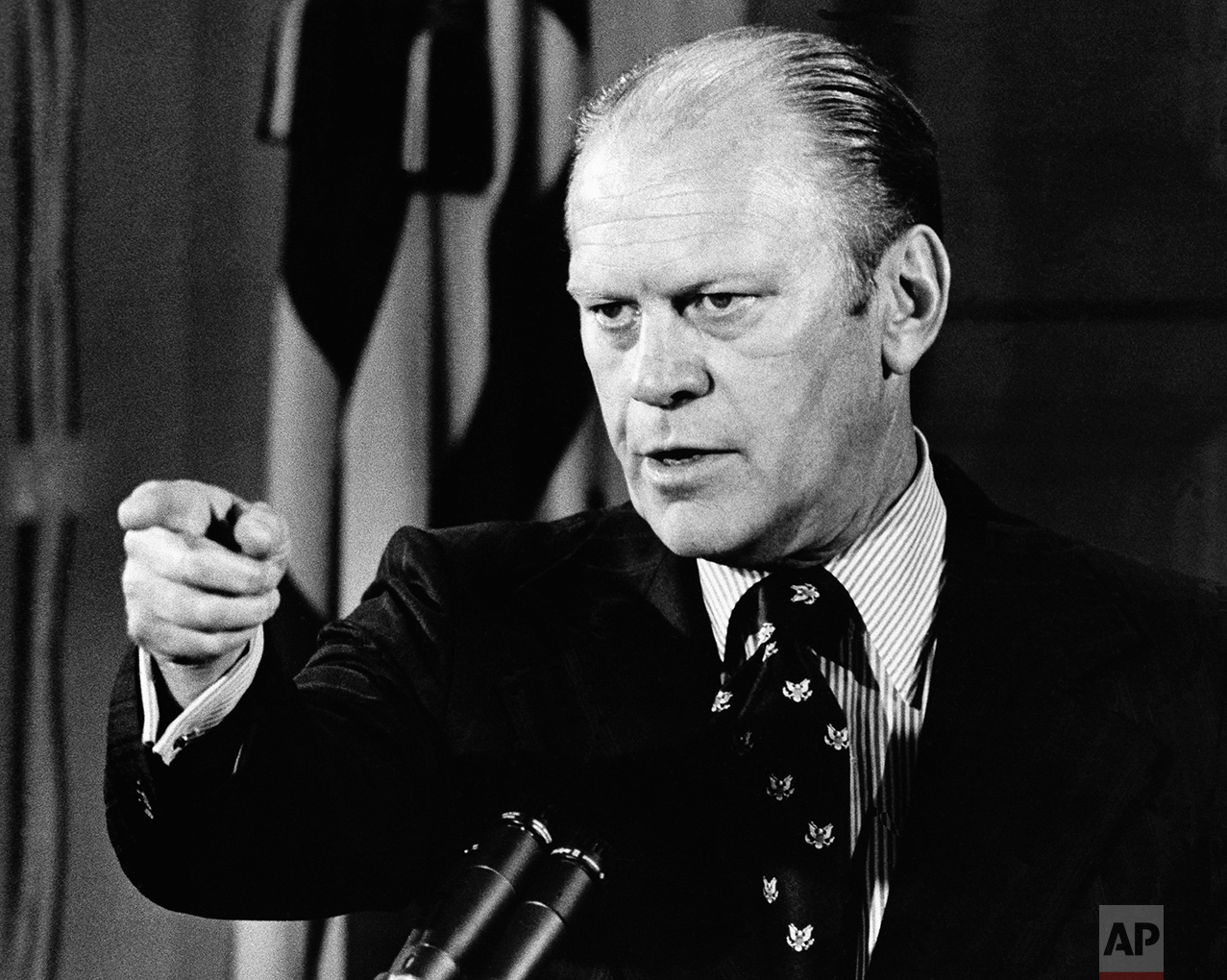 President Ford conducts his first news conference as president Aug. 29, 1974 in the White House's East Room. (AP Photo)