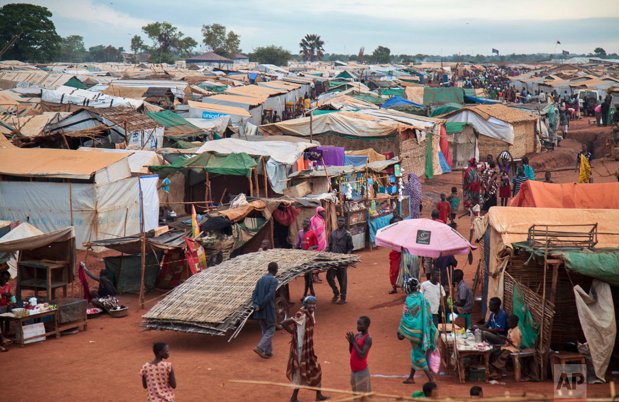 This photo taken Sunday, May 14, 2017, shows the United Nations' protected camp in Wau, South Sudan, which since clashes in April is now the most congested internally displaced camp in the country, with almost 40,000 inhabitants. South Sudan's civil war, now into its fourth year, has killed more than 50,000 people and plunged parts of the nation into famine, while brutal accounts of government soldiers killing civilians based on their tribe are driving the country deeper into despair. (AP Photo)