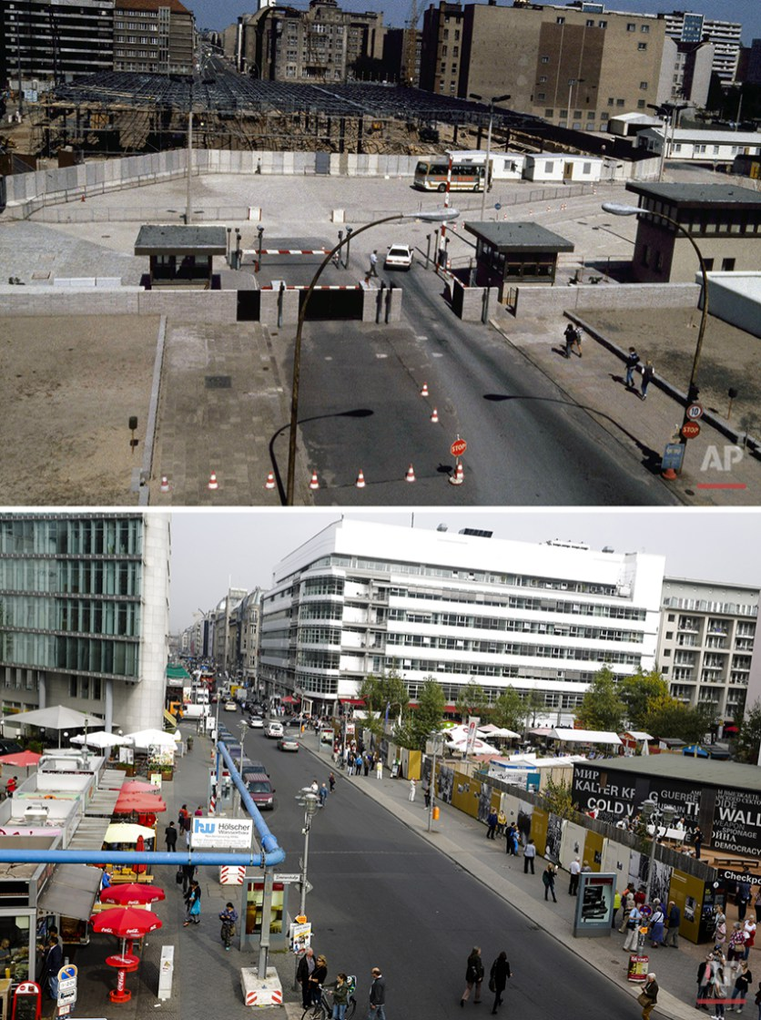 The combo whos construction work at the Berlin Wall on Aug. 13, 1985 on Friedrichstrasse near checkpoint Charlie and  Friedrichstrasse Oct. 2, 2014 - 25 years after the fall of the wall. (AP Photo/Markus Schreiber)