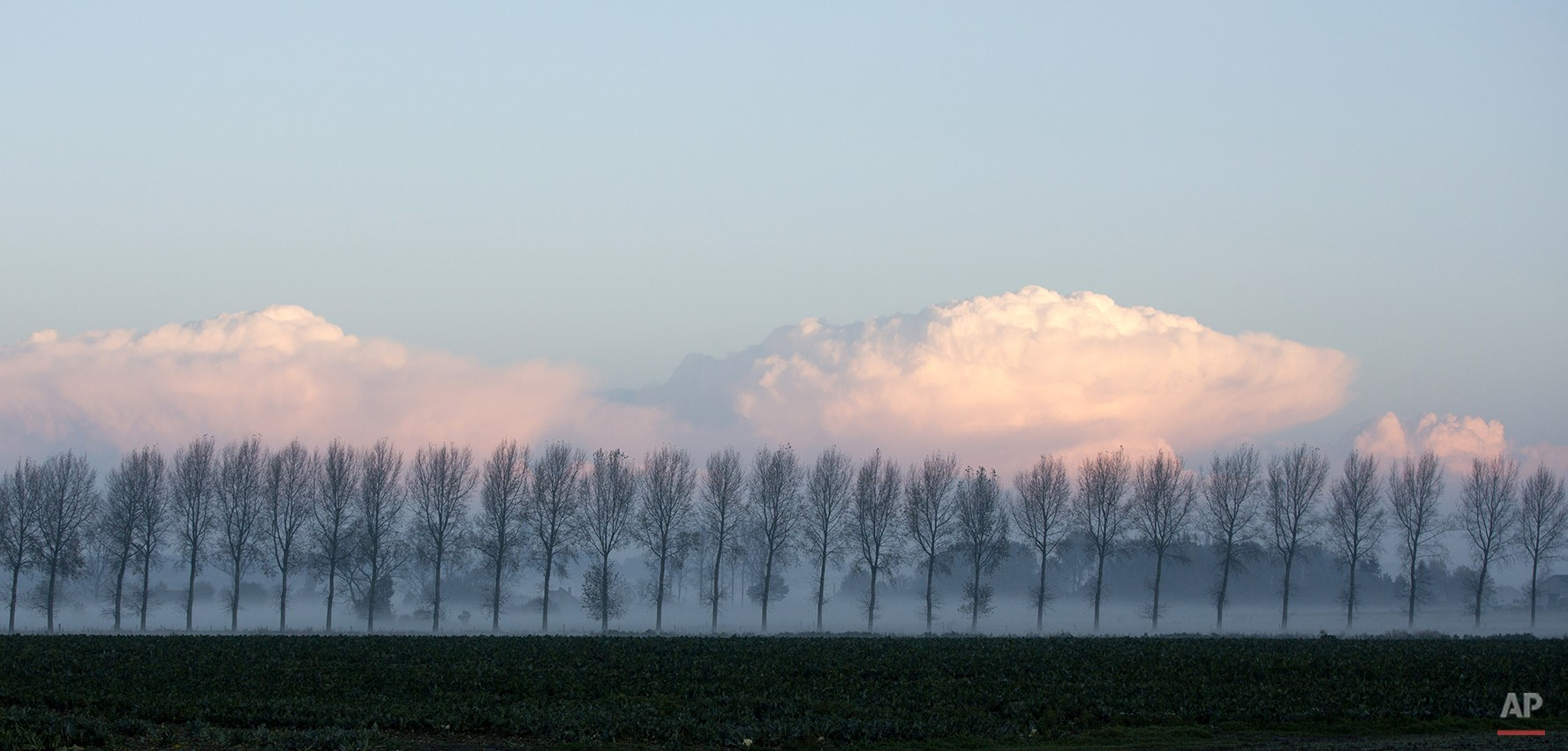 The fog begins to lift as the rising sun is reflected off of the clouds in Zonnebeke, Belgium, on Wednesday, Nov. 5, 2014. Belgium is experiencing higher than average temperatures for the autumn. (AP Photo/Virginia Mayo)