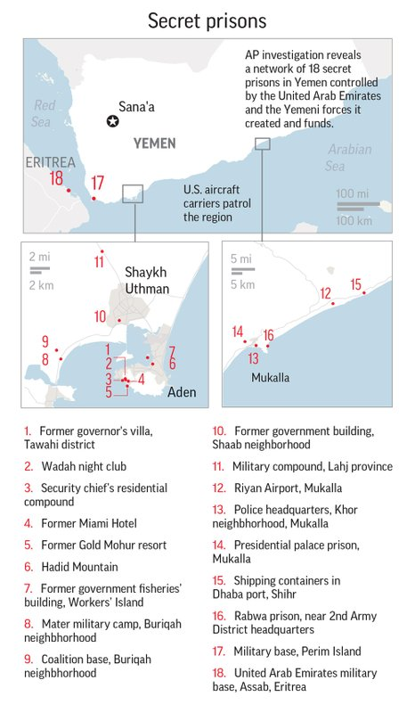 18 secret prisons in Yemen controlled by the Inited Arab Emirates