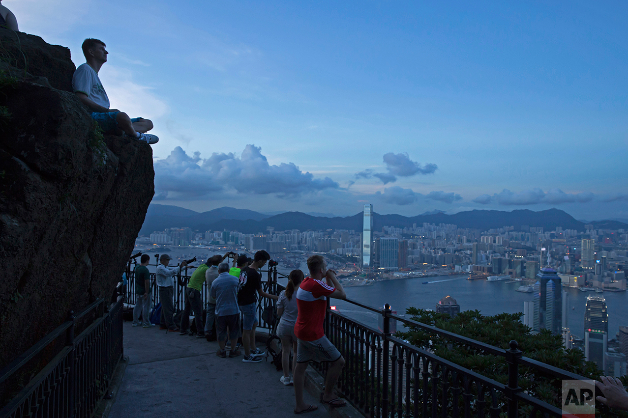 In this June 7, 2017, photo, a general view from Victoria Peak is seen in Hong Kong. (AP Photo/Kin Cheung)