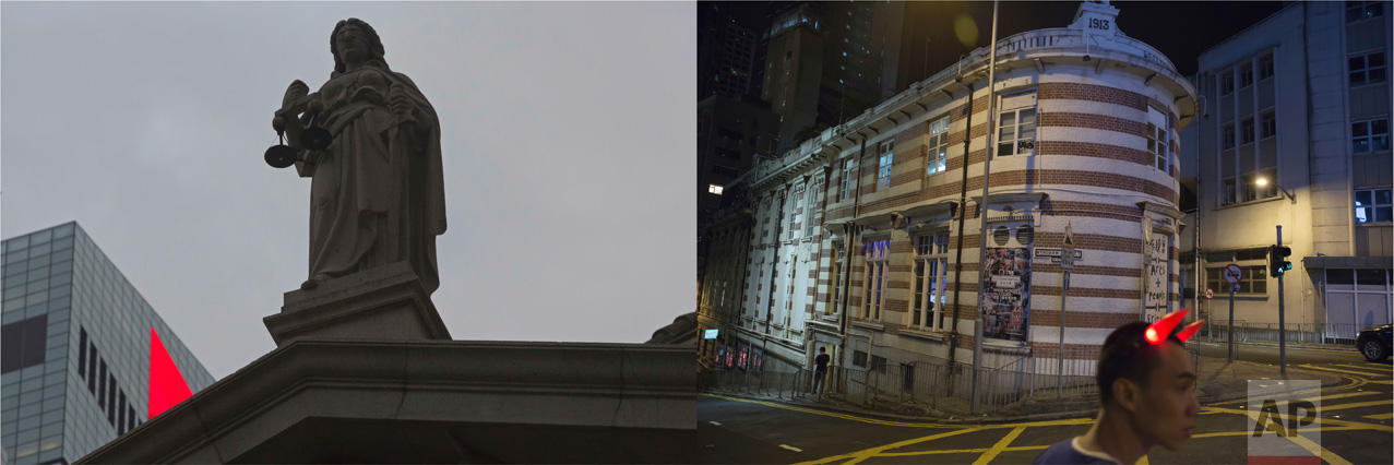 In this combination of photos, left: The corner of a red LED screen is seen next to the statue of the Goddess of Justice at the former Supreme Court in Hong Kong, Thursday, June 1, 2017; and right: A man wears devil horns in front of the Fringe Club, which was built in the colonial style, in Hong Kong, Saturday, May 27, 2017. (AP Photo/Kin Cheung)