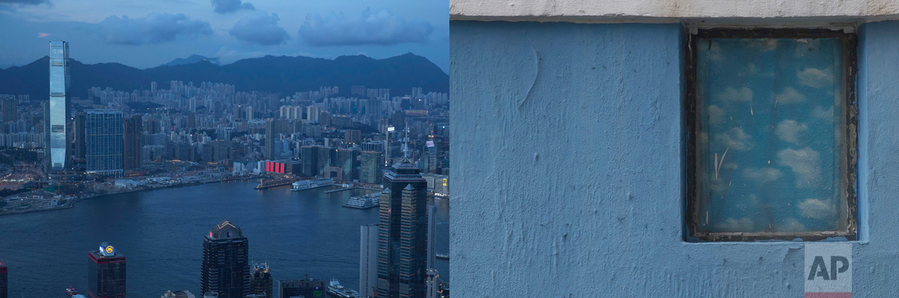 In this combination of photos, left: Clouds float over Victoria Harbor as a red LED display is seen at a shopping mall in Hong Kong, Wednesday, June 7, 2017; and right: A window frames a painting of clouds at a primary school in Hong Kong Friday, June 2, 2017. (AP Photo/Kin Cheung)