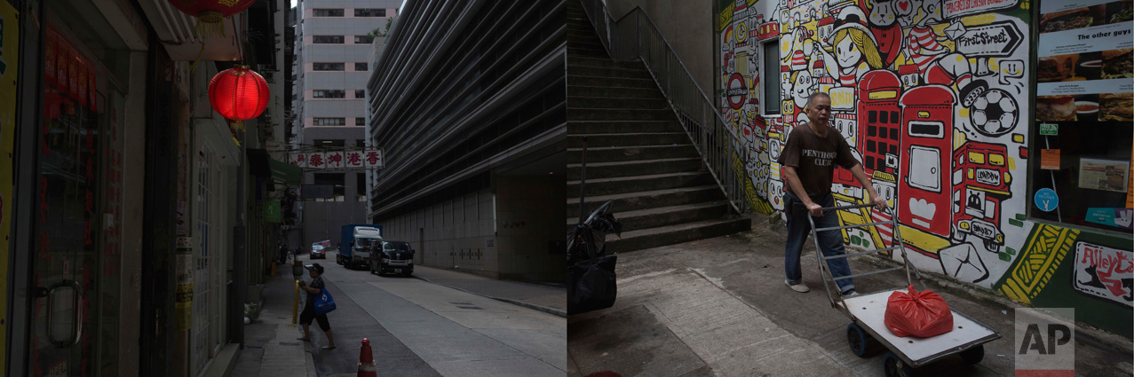 In this combination of photos taken on Friday, June 2 2017, left: A red lantern hangs outside a shop in Western District in Hong Kong; and right: A man pushes a trolley with a red plastic bag next to a wall depicting British themed graffiti art in Hong Kong. (AP Photo/Kin Cheung)