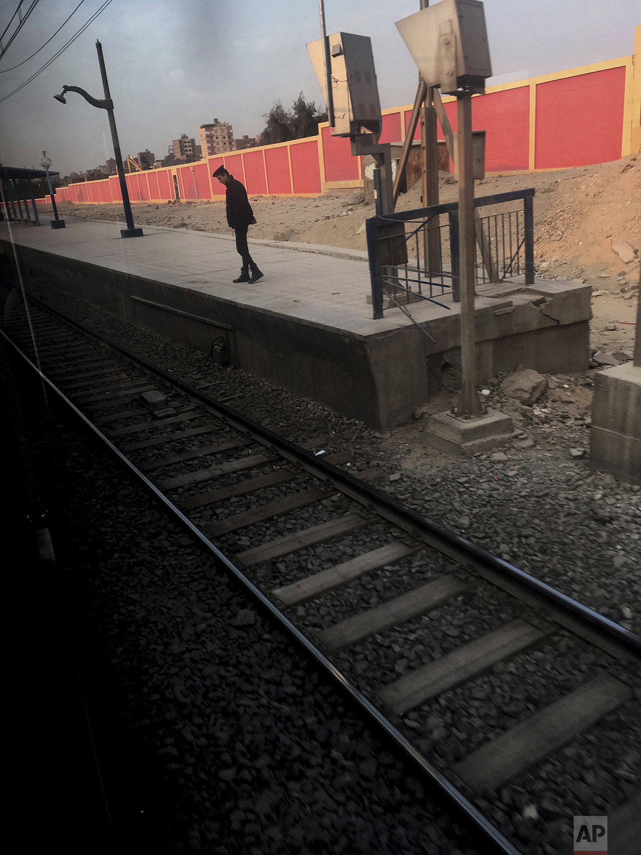 In this Feb. 1, 2017 photo, an Egyptian security stands guard at a metro station, in Cairo, Egypt. (AP Photo/Nariman El-Mofty)