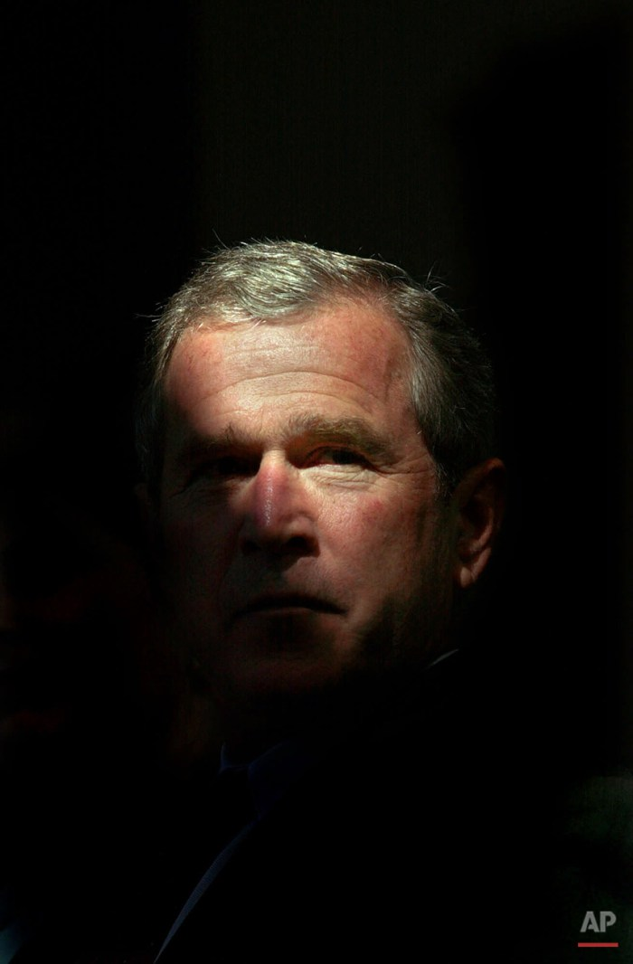Republican presidential nominee Texas Gov. George W. Bush is illuminated by a shaft of sunlight from a skylight during a campaign event at the National Steinbeck Center, Thursday, Aug. 10, 2000, in Salinas, Calif. GOP officials insist they can win California by appealing to minority voters, particularly Latinos, a growing segment of the Central Valley's population. Democrats say voters will see through the rhetoric. (AP Photo/Eric Draper)